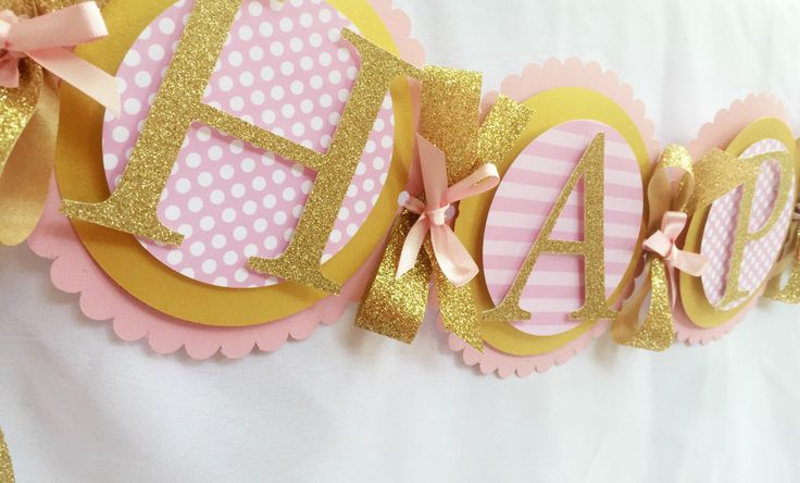 Pink and gold Birthday banner. Pink and gold first birthday. Pink and glitter gold birthday party. Pink and gold first birthday banner. by sprinkledprettyparty on Etsy https://www.etsy.com/listing/237655701/pink-and-gold-birthday-banner-pink-and