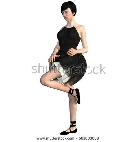 One well-groomed young woman in a black dress. She stands close to the camera and turned left. Her left leg is raised. 3D rendering, 3D illustration