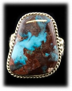 Large Mens Turquoise Ring with top grade Natural Bisbee Turquoise from Bisbee, Arizona USA.  This gorgeous men's Turquoise ring was created by John Hartman with solid Sterling Silver.