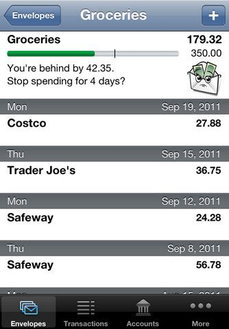 Easy Envelope Budget Aid (EEBA): Sync ($0.00) With the free EEBA app on your phone, you will take control of your household's budget. - See your budget anytime, anywhere. - Automagically sync 2+ phones + web! - Record your expenses quickly anywhere - Get location-based payee suggestions - Check envelope balances before spending - Split transactions
