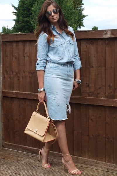 "Sky Blue Denim Chambray Zara Shirts, Eggshell Warehouse Bags | ""sky blue Zara skirt"" by EJSTYLE"
