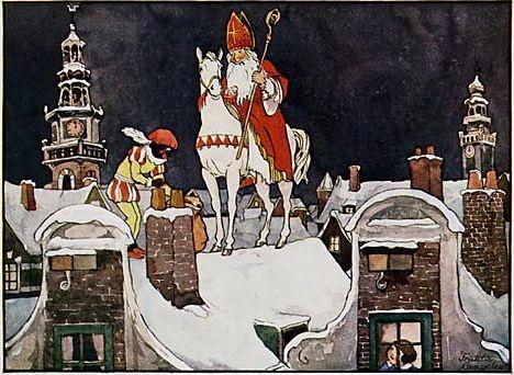 In grootvaders tijd was de stad Amsterdam nog in alle opzichten kleiner, Maar met zijn antieke geveltjes ook, Zoveel echter, mooier en fijner. Doch 't was voor de Sint zo makkelijk niet Om over de daken te rijden, Omdat op zo'n smal en zo'n spits pannendak Je lichter kon vallen en glijden. En 't was toen, als 't winter was, vorstig en koud.