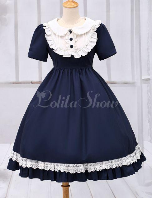 Lolitashow Marineblaue Lolita einteiliges Kleid Kurzarm Turndown Kragen Lace Trim