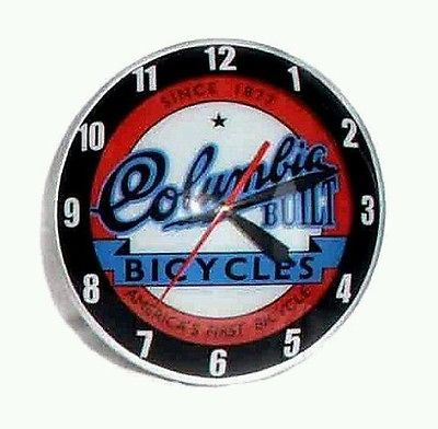 New 1940's - 1950's style double bubble LIGHT UP electric Columbia Bicycle clock