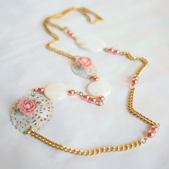 Princess Rose OOAK necklace  handpainted shabby by DreamsCorner, €25.00 https://www.etsy.com/listing/53687986/princess-rose-ooak-necklace-handpainted