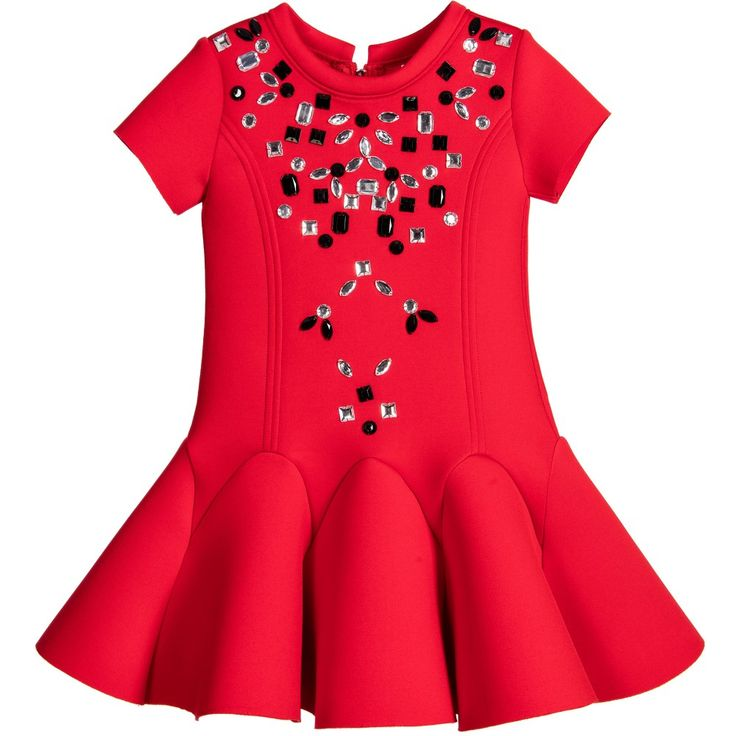 Girls red short-sleeved dress by Deux Par Deux with a zip on the back to fasten. Made in a soft neoprene with a fluted skirt and structured shape. The front is embellished with shimmering silver and black jewels.
