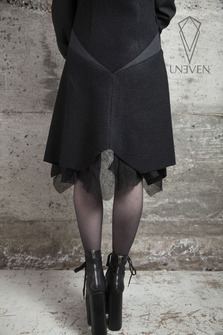 Uneven Night Ritual Jacket back details, boiled wool, linen salem boots
