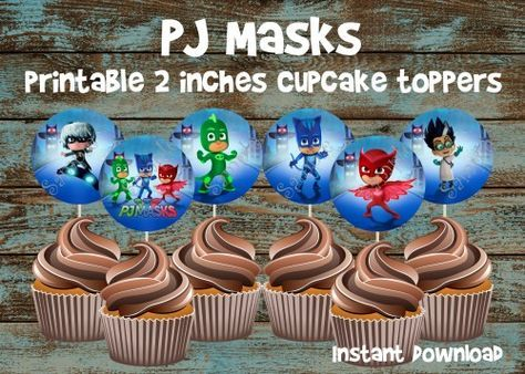 PJ Masks cupcake toppers, PJ Masks party, PJ Masks favor tags, PJ Masks Birthday, PJ Masks Invitation, PJ Masks, PJ Masks Favors, PJ Masks, PJ Masks cake, PapelPintadoDesigns - on ArtFire