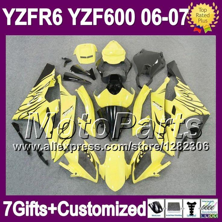 Черный 7 подарок + тела для YAMAHA YZF600 YZF-R6 06 07 YZF R 6 YZF 600 черный желтый * 9661 YZFR6 06 - 07 YZF R6 2006 2007 зализа