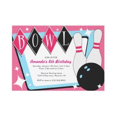 Girl's Bowling, Birthday Party Invitations      http://rlv.zcache.com/bowling_birthday_party_invitations-p161626628234673207en75o_325.jpg