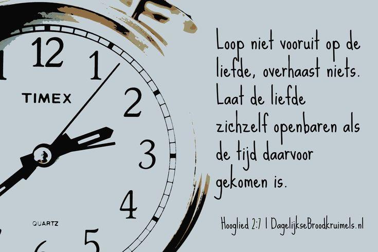 Loop niet vooruit op de liefde, overhaast niets. Laat de liefde zichzelf openbaren als de tijd daarvoor gekomen is. Hooglied 2:7   #Liefde, #Tijd  https://www.dagelijksebroodkruimels.nl/hooglied-2-7/