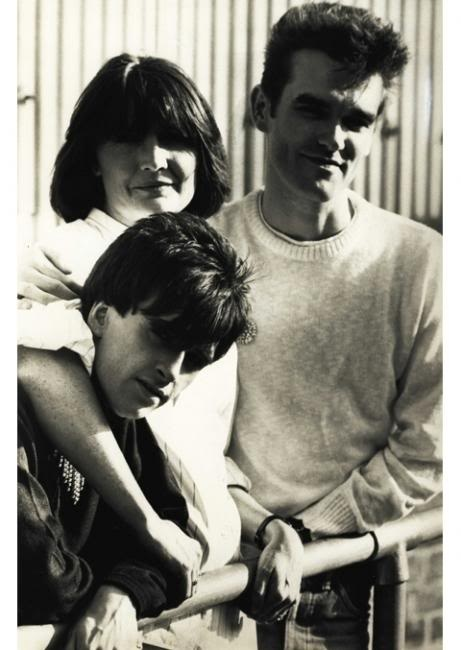 Sandie Shaw with Johnny Marr and Morrissey of The Smiths.