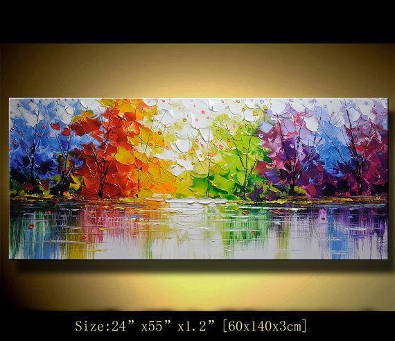 Original Abstract Painting, Modern Textured Painting,Impasto Landscape Textured Modern Palette Knife Painting,Painting on Canvas byChen m028 op Etsy, 271,59 €