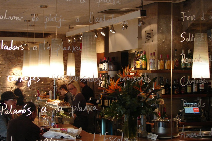 TALLER DE TAPAS, Barcelona-the place for incredible Cava Sangria!! This is the counter Alexa and sat and had dinner!!!: