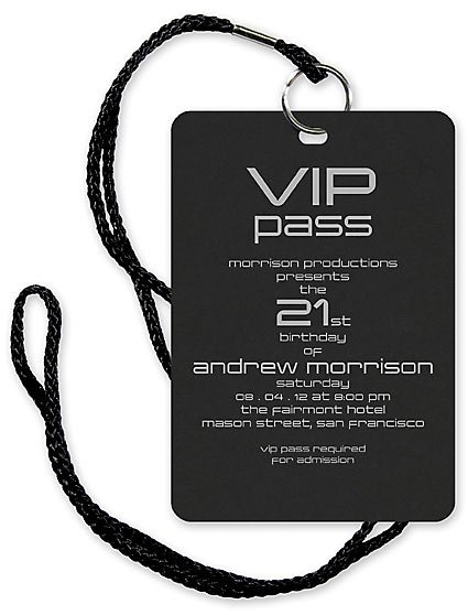 Pass to the party/obstacle course/movie as an invitation