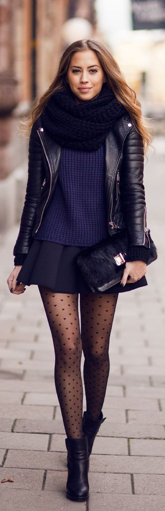 Fall #streetstyle | bicker jacket + navy knit sweater + mini skirt + ankle booties + oversized scarf
