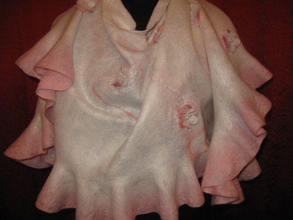 Felted shawl .Natural materials Wool  silk  viscose