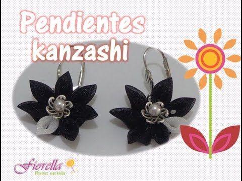 Tutorial #15 pendientes con flores kanzashi