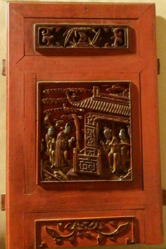 Antique Hand Carved Qing Dynasty (?) Wood  Panel Wall Hanging, Chine