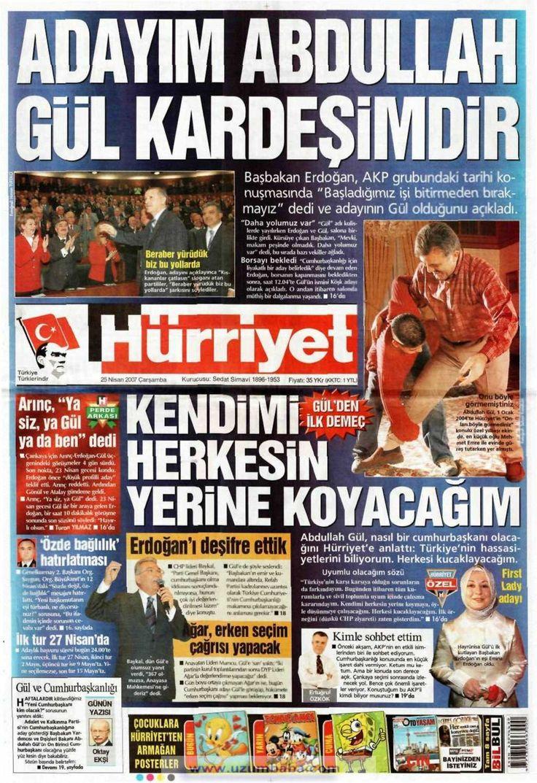Hürriyet gazetesi 25 nisan 2007