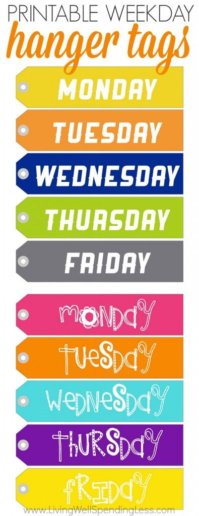 Want to help your kids be more proactive or simply avoid weekday morning battles over what to wear?  These handy little weekday hanger tags are the perfect solution. Simply print them on card stock, cut them out, punch a hole, and add ribbon.  There are even three cute styles to choose from–one for girls, one for boys, and one for everyone!