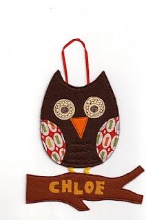 handmade sewn owl door name hanger