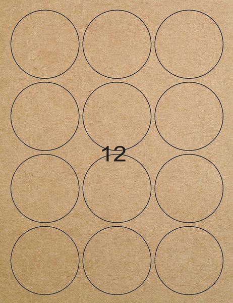 Etiketten - 12 Kraftpapier-Etiketten rund braun 57 mm   Mit diesen braunen Kraftpapier Etiketten könnt Ihr Aufkleber und Sticker einfach selbst gestalten und drucken. . Die A4-Etiketten sind perfekt geeignet für Laser Drucker, Farblaser Drucker und Kopierer.  Die flexiblen Kraftpapier Etiketten haften sogar auf rauen, leicht feuchten und unebenen Gegenständen. 12 bedruckbare runde Kraftpapier Aufkleber pro Blatt 1 Set besteht aus 1 Bogen = 12 Etiketten