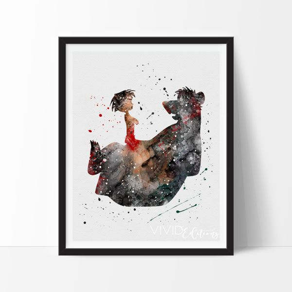 Mowgli and Baloo, Jungle Book Watercolor Art. This art illustration is a composition of digital watercolor images and silhouettes in a minimalist style.