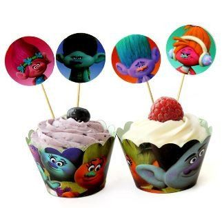 Trolls Theme Birthday Party Cupcake Wrappers/Toppers Decoration Kit (24 pcs.- 12 each)
