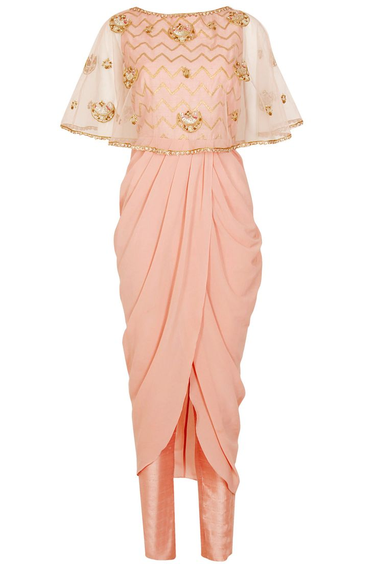 Blush pink zigzag panel drape kurta and straight pants set available only at Pernia's Pop Up Shop.