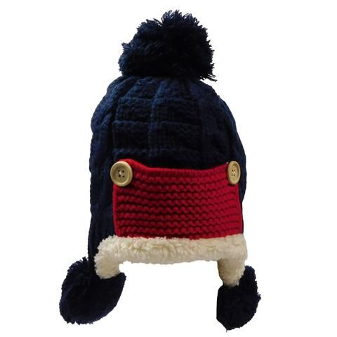 Knit Trapper Hat with Pom Poms