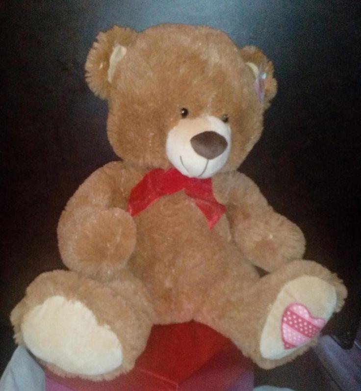 "New large plush brown valentines teddy bear 20"" NWT #BestMadeToysInternational"