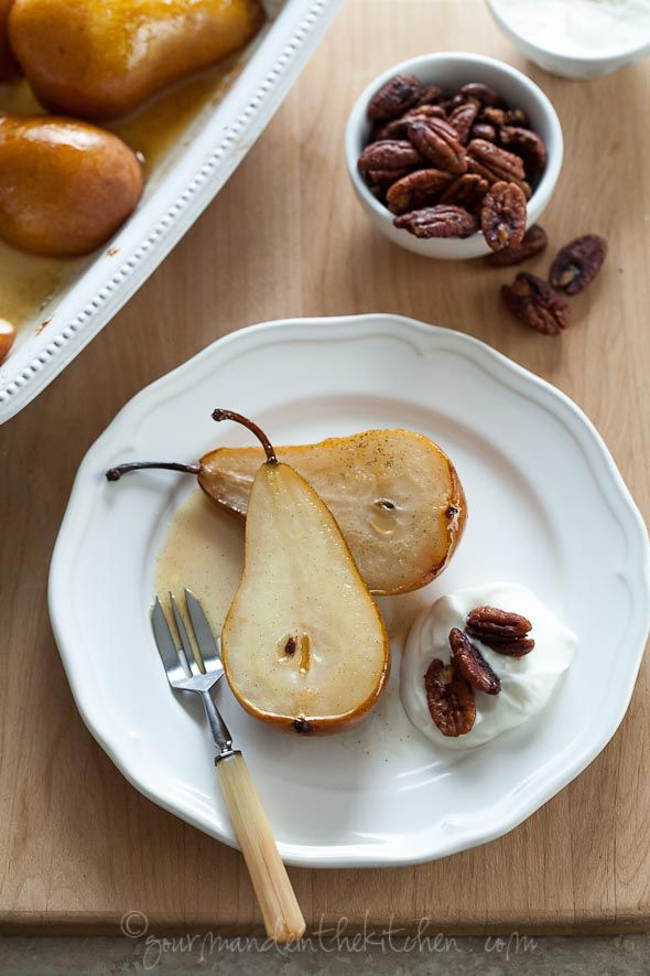 Vanilla Roasted Pears with Bourbon Coconut Cream and Glazed Pecans on ...