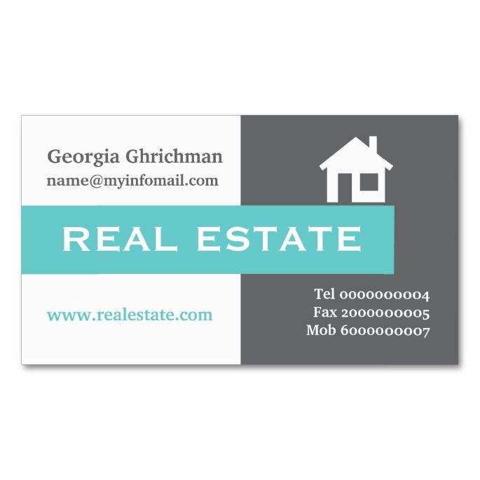 2143 best real estate broker business cards images on pinterest real estate grey white aqua eye catching business card reheart Images