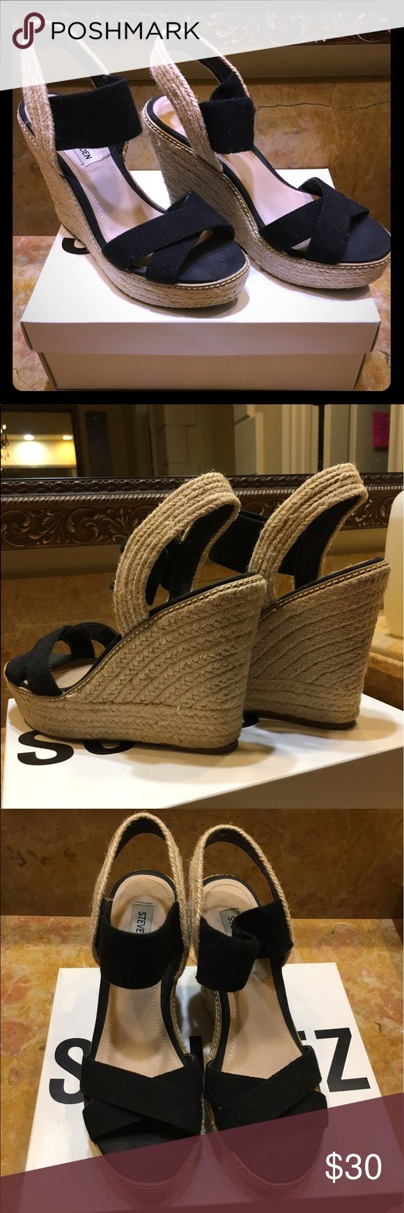Black espadrille wedges Steve Madden black espadrille wedges.  Size 8.5 . Great condition. Heel is 3.5 inches. Steve Madden Shoes Espadrilles