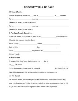 Free Dog/Puppy Bill of Sale Form - PDF | Word | eForms – Free Fillable Forms