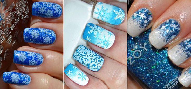 Маникюр на Новый Год в синем цвете со снежинками