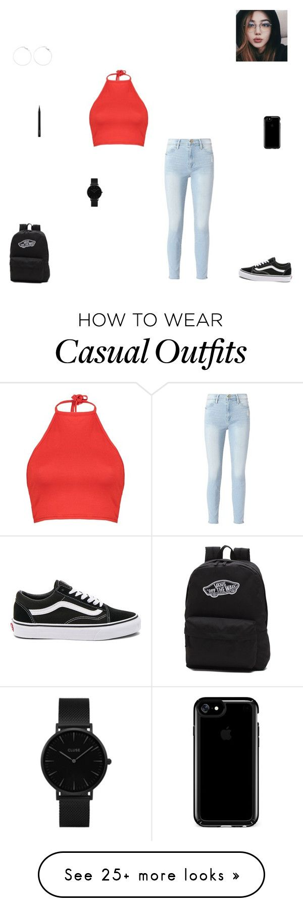 """""""casual day #26"""" by synclairel on Polyvore featuring Frame, Boohoo, Vans, Speck, MAC Cosmetics, CLUSE, Summer, cute, casual and ootd"""
