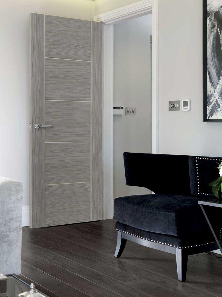 Lava laminate internal door - Grey contemporary laminate with textured timber effect