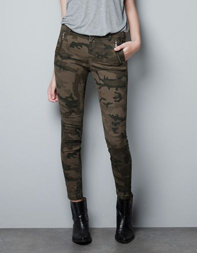 CAMOUFLAGE TROUSERS WITH ZIPS - Trousers - Woman - ZARA United States