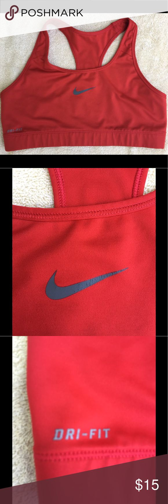 Nike Red Dri Fit Sports bra Nike red sports bra with gray Swoosh Logo. Dri fit moisture wicking material. Chest elastic 28 inches unstretched. in good condition no rips's, no stains, no tears. Nike Intimates & Sleepwear Bras
