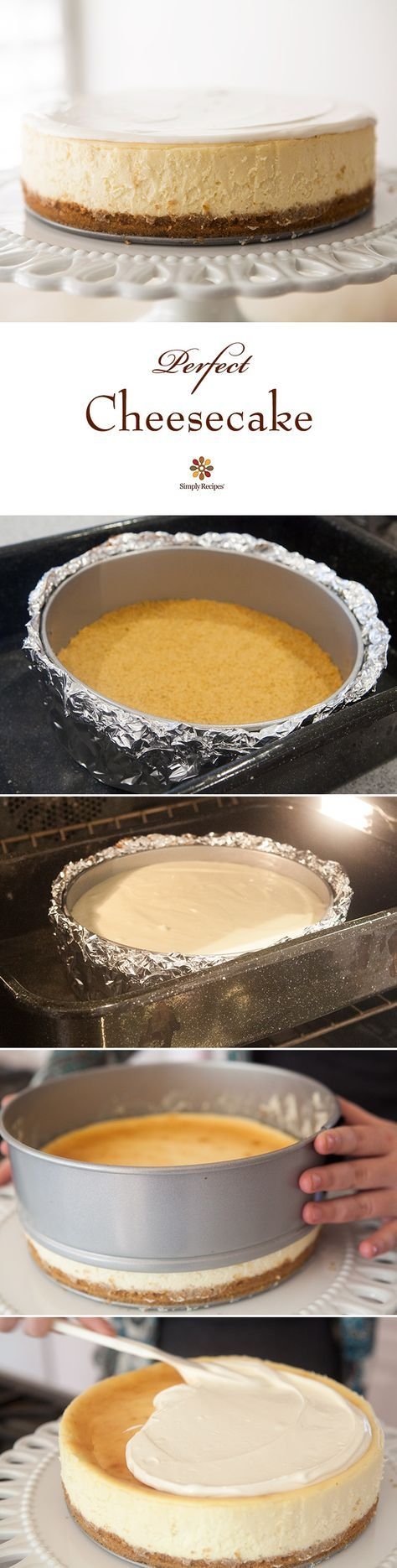 Perfect Cheesecake ~ Beautiful, classic cheesecake, tangy and sweet, with a velvety smooth and rich texture. ~ http://SimplyRecipes.com