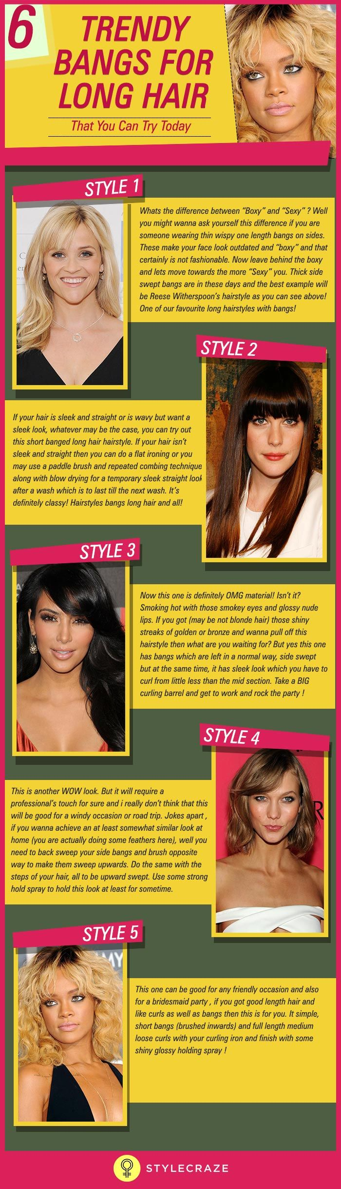 We keep telling you that long hair doesnot necessarily mean boring but you just wont listen to us! So we decided to go ahead and show you how having long hair doesn't hold you back from going for a more modern and delightful look! Bangs hairstyles for long hair is what this article is all about. Here are a few of the latest long hair styles with bangs!