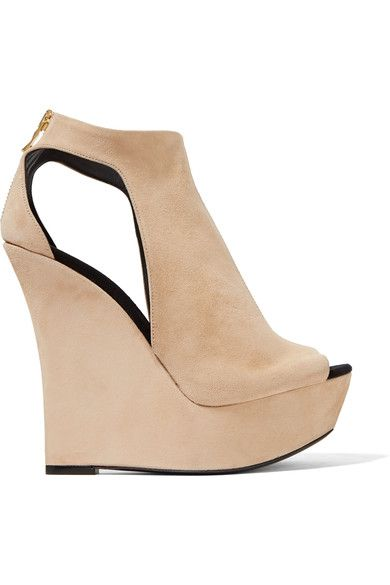 Wedge heel measures approximately 150mm/ 6 inches with a 40mm/ 1.5 inch platform Beige suede  Zip fastening along back Made in Italy
