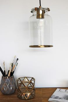 Brass & Glass Ceiling Light