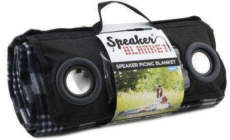 Colcha para picnic com alto-falantes