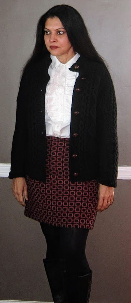 Polo Ralph Lauren poplin ruffled blouse, Cochni cashmere cardigan, Marks and Spencers wool blend skirt and tights and Keen boots - 2016