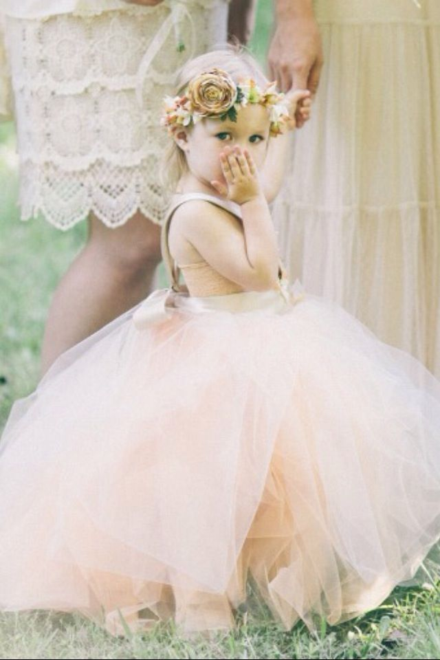 gorgeous little flower girl in bold tulle dress