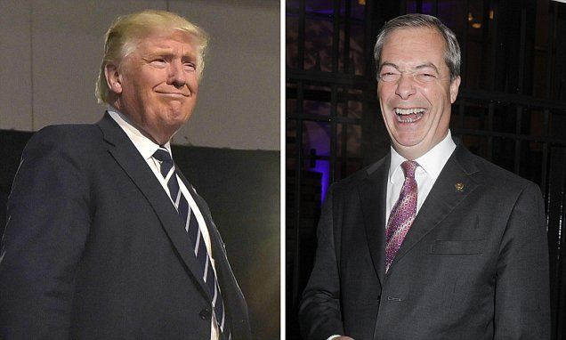 Blloody hell an endorsement from Farage That's all we need Giggling Nigel Farage delighted at prospect of President Trump