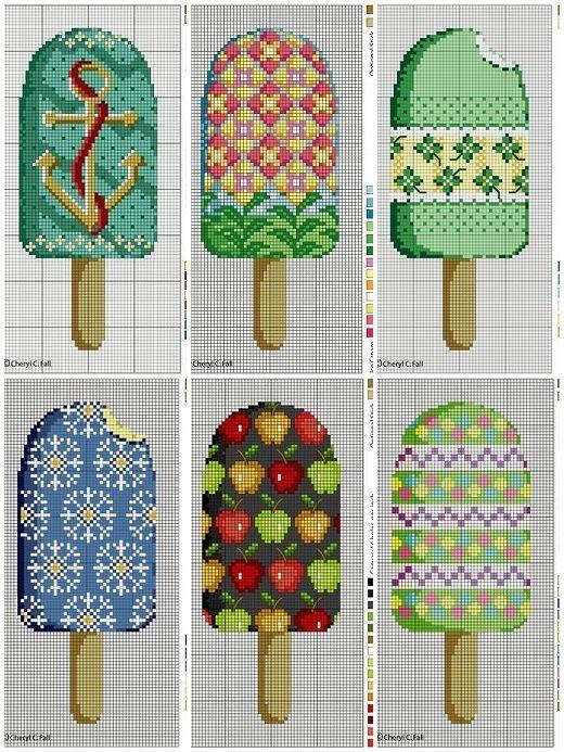летняя вышивка крестом мороженое крестом схема